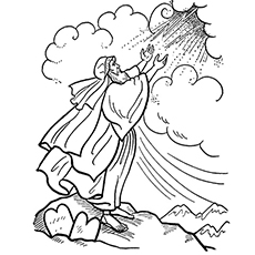 Moses Receiving the Ten Commandments from God Coloring Pages