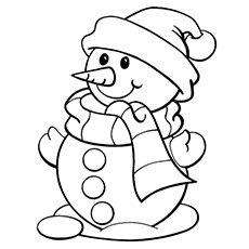 Cute Mr. Snowman Coloring Pages