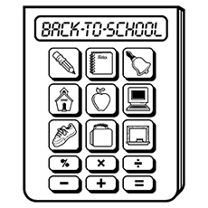 Multi Calculator with Icons of School to Color