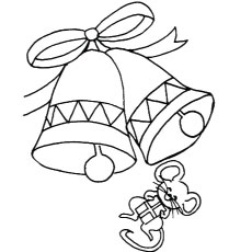 mouse with bells coloring pages to print - Bell Coloring Pages