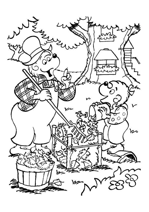 The-papa-bear-teaching-sister-bear-cleanliness