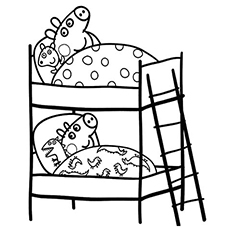 Peppa And George Sleeping in Bed Coloring Pages
