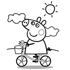 peppa cycling on sunny day complete peppa pig family going for an outing coloring pages