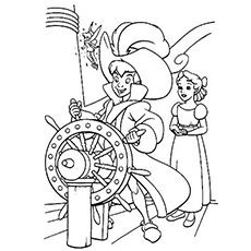 peter pan steering captain hook ship coloring page