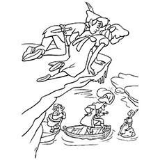 peter pan and wendy over the hill coloring pages