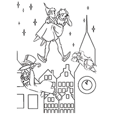 Peter Pan Holding Wendy with John and Michael Falling from Sky Coloring Pages
