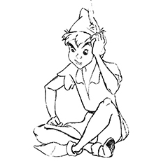 Peter Pan Thinking Coloring Pages