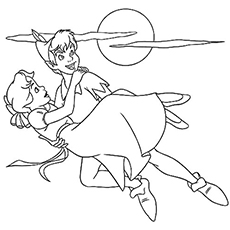 Peter pan with Jane Coloring Pages