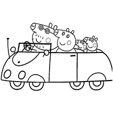 complete peppa pig family going for an outing coloring pages