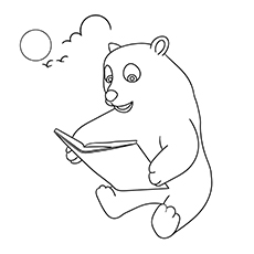 The Polar Bear Reading To Off Spring Coloring images