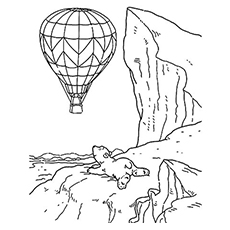 Coloring Page Of Polar Bear Watching Hot Air Balloon