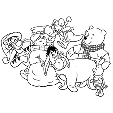 Disney Characters Pooh and Friends Playing on Christmas Day Pic to Color