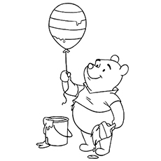 Pooh Coloring the Balloon Sheets