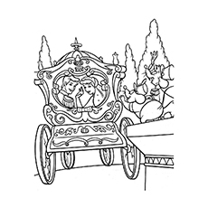princesses by her carriage coloring pages