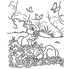 Free Printable Rabbits in the Forest Coloring Page