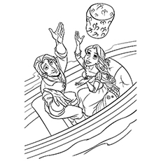 Rapunzel and Flynn Launch Lantern Coloring Pages