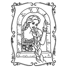 Rapunzel at the Window Coloring Sheet to Print