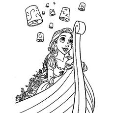 Rapunzel under Lit up Sky Coloring Pages