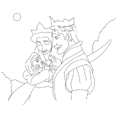 The rapunzel with her parents coloring pages