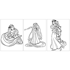 Rapunzel with Pascal Coloring Page to Print
