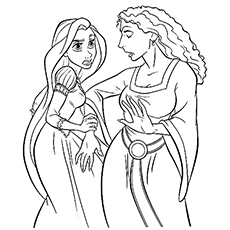 rapunzel and the witch rapunzel together again with flynn coloring pages - Tangled Coloring Pages Printable