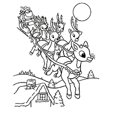 Reindeer During Christmas Season to Color