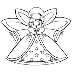 Coloring Page of Retro Angel