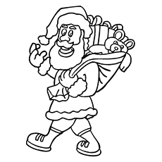 Santa Carrying Gifts to Color