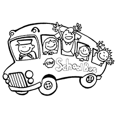 Coloriging Sheet of Children in School Bus