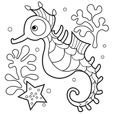 Seahorse Under Water Coloring Pages