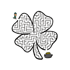 the shamrock maze - Coloring Page Printable
