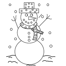 Free Coloring Page of Snowman with a Message During Christmas