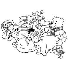 Coloring Sheet of Snowman with Team of disney