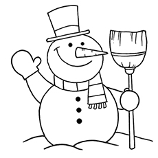 snowman with broom coloring pages