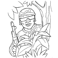 the soldier in action - Military Coloring Pages Printable