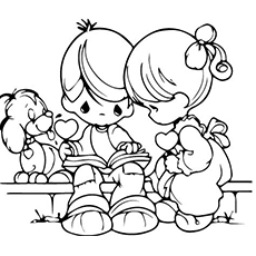 Kids Studying together Coloring Page