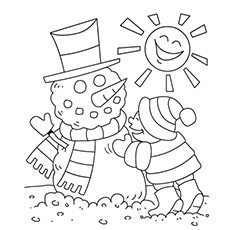 sun and the snowman coloring page