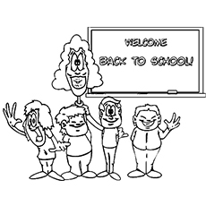 teacher and students welcome you back to school picture to color - Welcome Back To School Coloring Pages