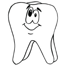 Tooth is Smiling in Dental Coloring Page