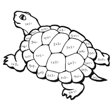 Coloring Worksheet of Multiplying the Number on the Turtle