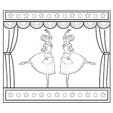 Two Ballerinas Performing Ballet On Stage The Ballerina With Hearts Coloring Page