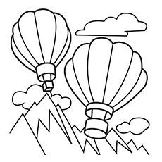 two hot air balloons with mountain and clouds