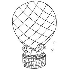Two kiddos up in the Air Balloon Coloring pages