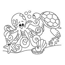 ocean underwater creatures coloring pages - Ocean Animals Coloring Pages