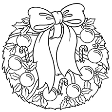 Wreath to Decorate on your Door During Christmas Coloring