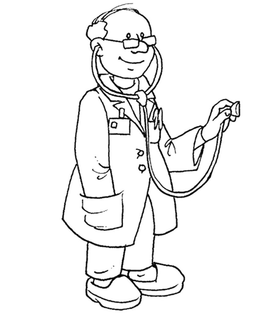 It is an image of Vibrant community helpers coloring page