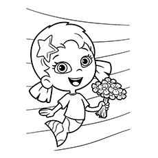 oona with flowers in hand bubble guppies gil and fish to color free