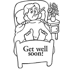 Boy in Bed Coloring Pages