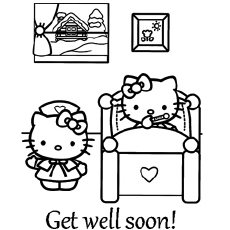 Doctor Wishing Hello Kitty to Get Well Soon Coloring Pages