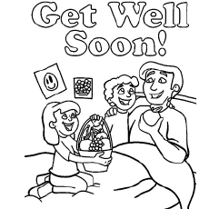 Kids Presenting Fruit Basket to Sick Father To Get Well Soon Coloring Pages